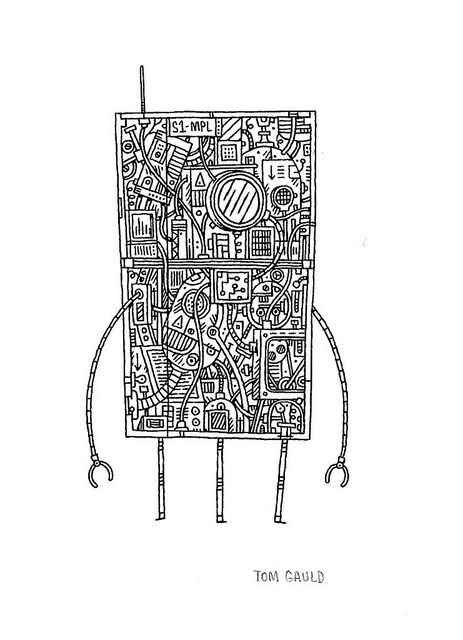 S1MPL-bot Drawing by Tom Gauld