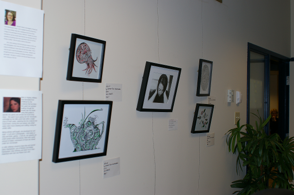 Credit Union Art Show - Miss P, Mend, Macrocosm, and Cast About, plus one of Michelle's photos and our artist bios