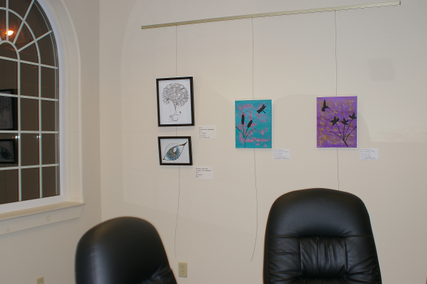 Credit Union Art Show - Bliss and The World In Her Eyes, plus two paintings by Michelle