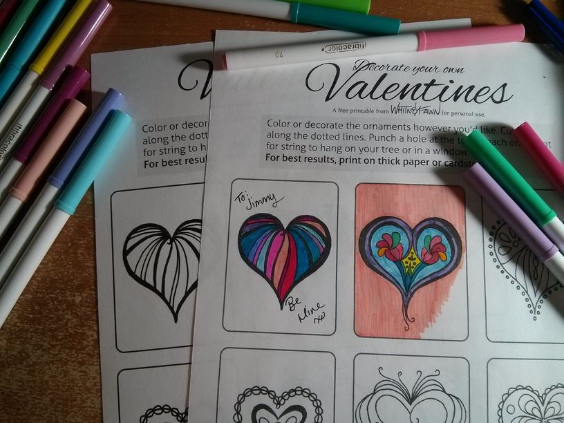 Valentine Cards coloring sheet preview