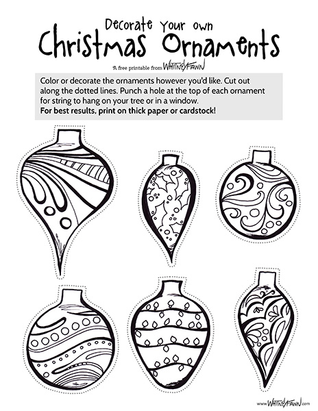 Xmas Ornaments Printable preview