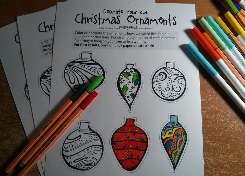 Xmas Ornaments coloring sheet preview